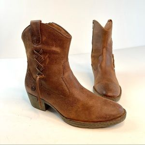 Born Brown Distressed Leather Western Ankle Boots